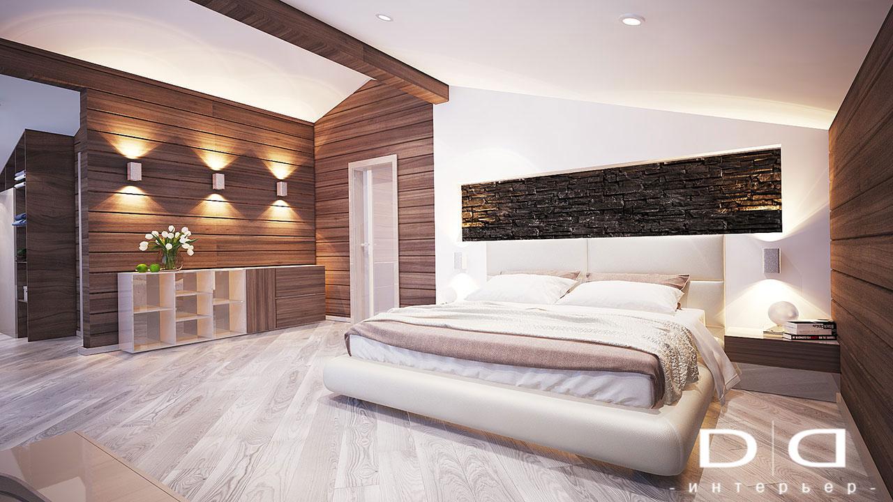 Дизайн интерьера дома, деревянного дома из бруса Минск dd-interior.by tспальня-004