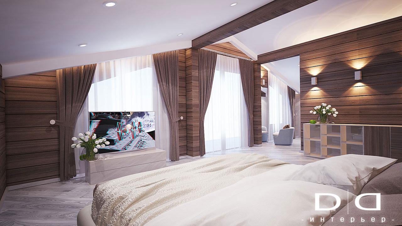 Дизайн интерьера дома, деревянного дома из бруса Минск dd-interior.by tспальня-01